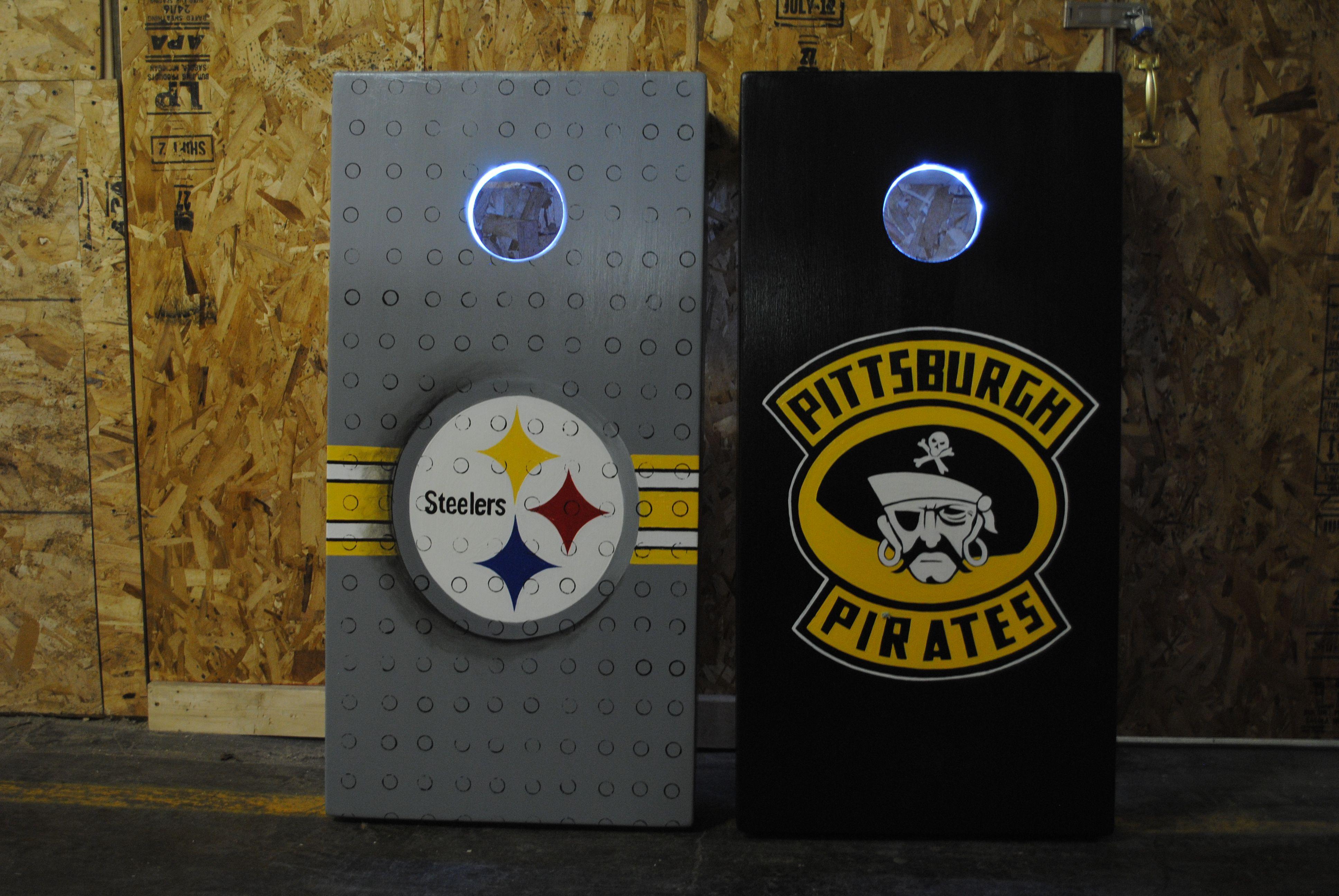 Pitt Steelers, Pitt Pirates custom cornhole game board bag set!  Lights, drink holder and bags!