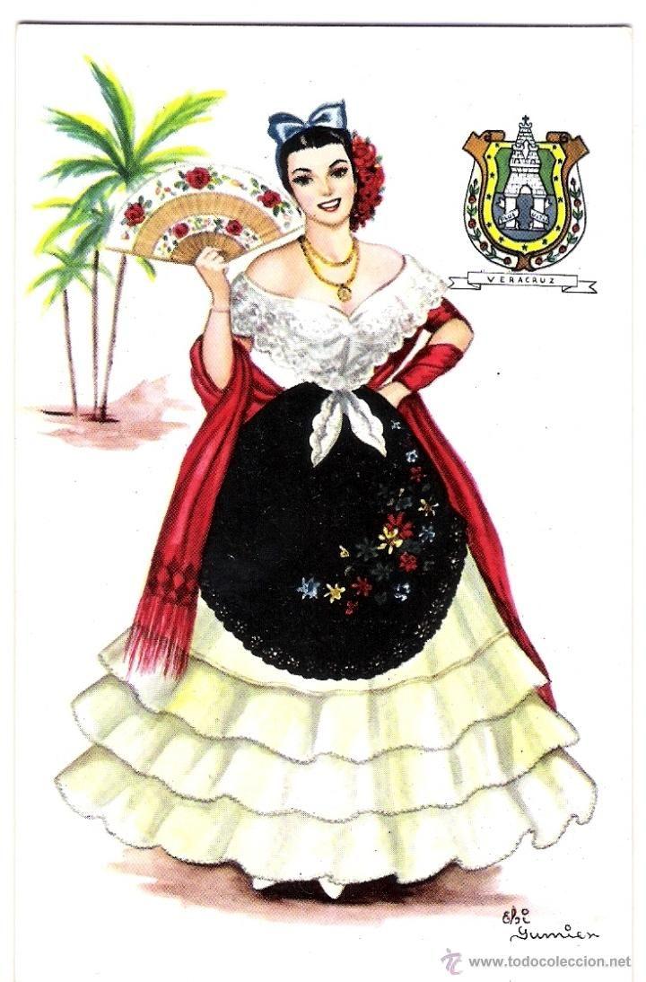 5258HERMOSA Y ANTIGUA POSTAL DIBUJO TRAJE TIPICO MEXICO VERACRUZ