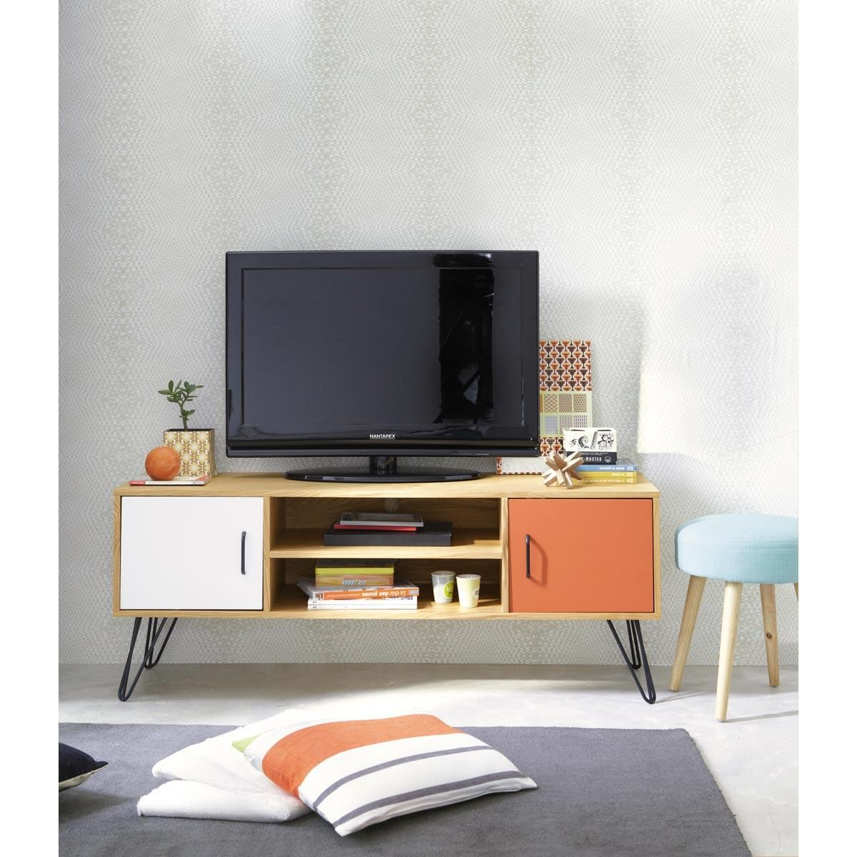 meuble tv bas vintage twist maisons du monde 140 eur repeindre la partie orange en jaune. Black Bedroom Furniture Sets. Home Design Ideas