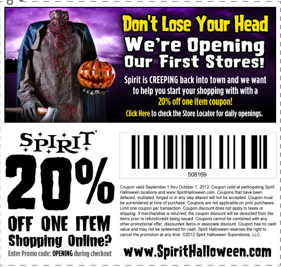 Spirit Halloween 20 off Coupon Costumes and Decorcations