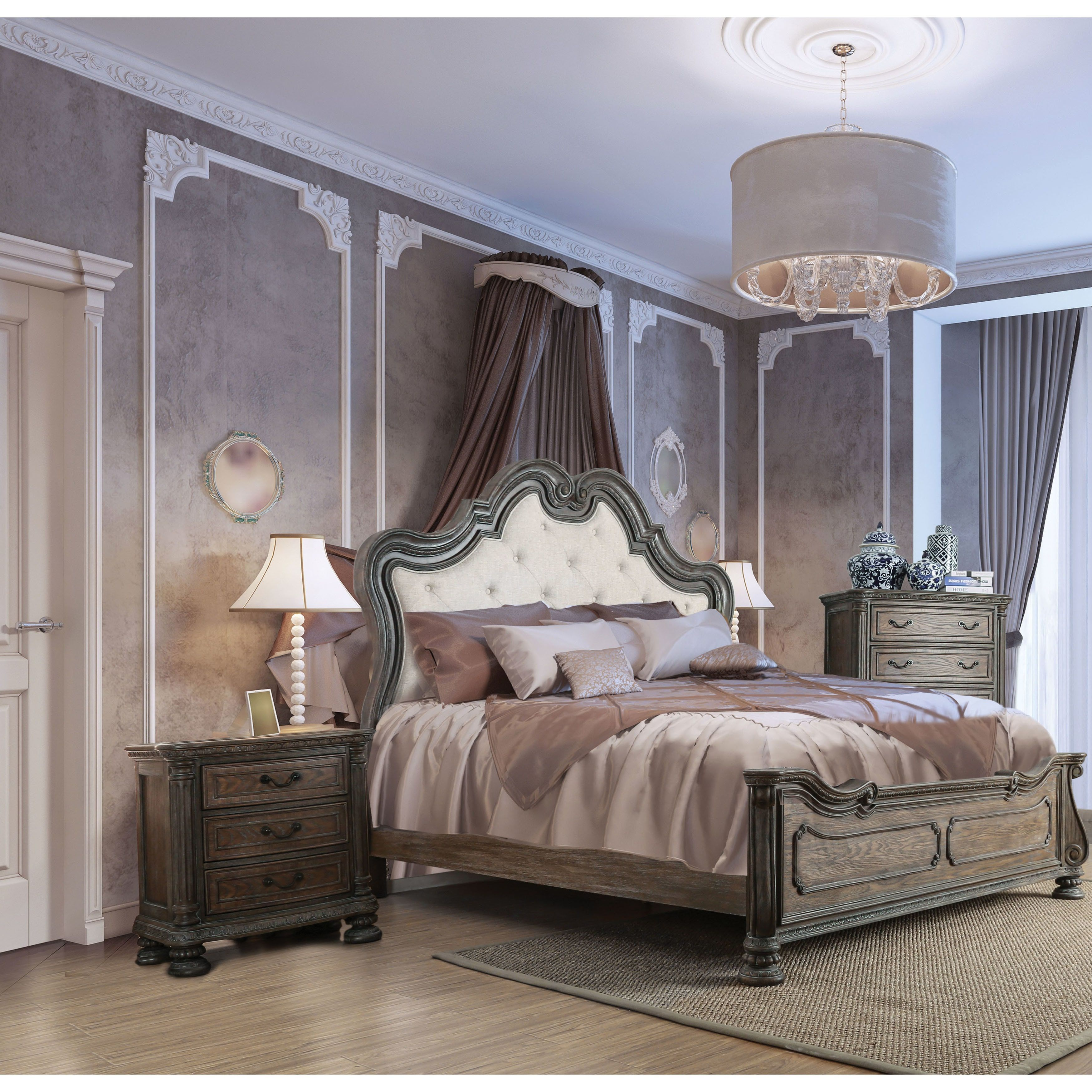 Furniture Of America Brigette Traditional 3 Piece Ornate Rustic Natural Tone Bedroom Set Cal King Size California