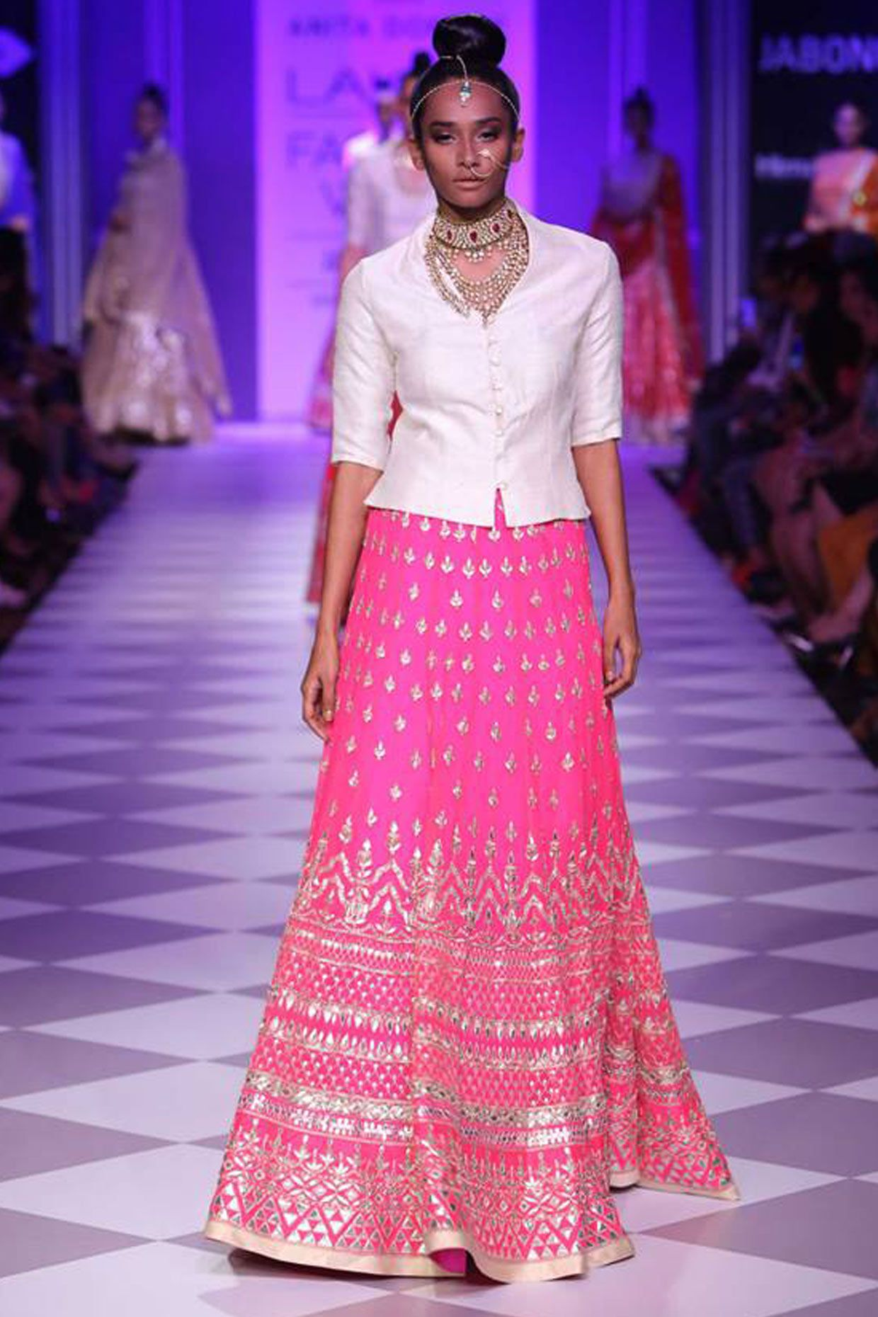Pink resham work lehenga with contrast bandi available only at ...