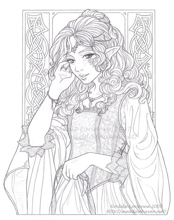Pin On Fairy Elf Fantasy Adult Coloring