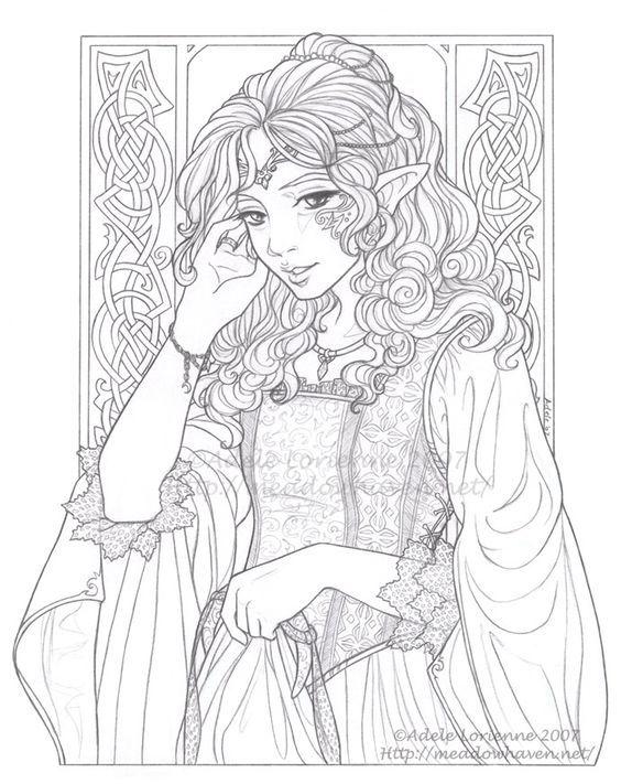 Elf. Adult Coloring. source deviantart.com | Fairy-Elf-Fantasy ...