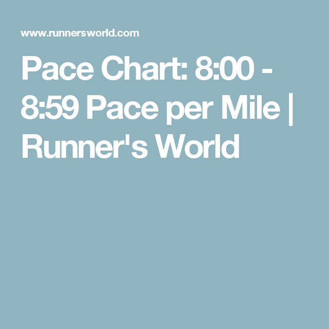 Pace Chart: 8:00   8:59 Pace Per Mile | Runneru0027s World