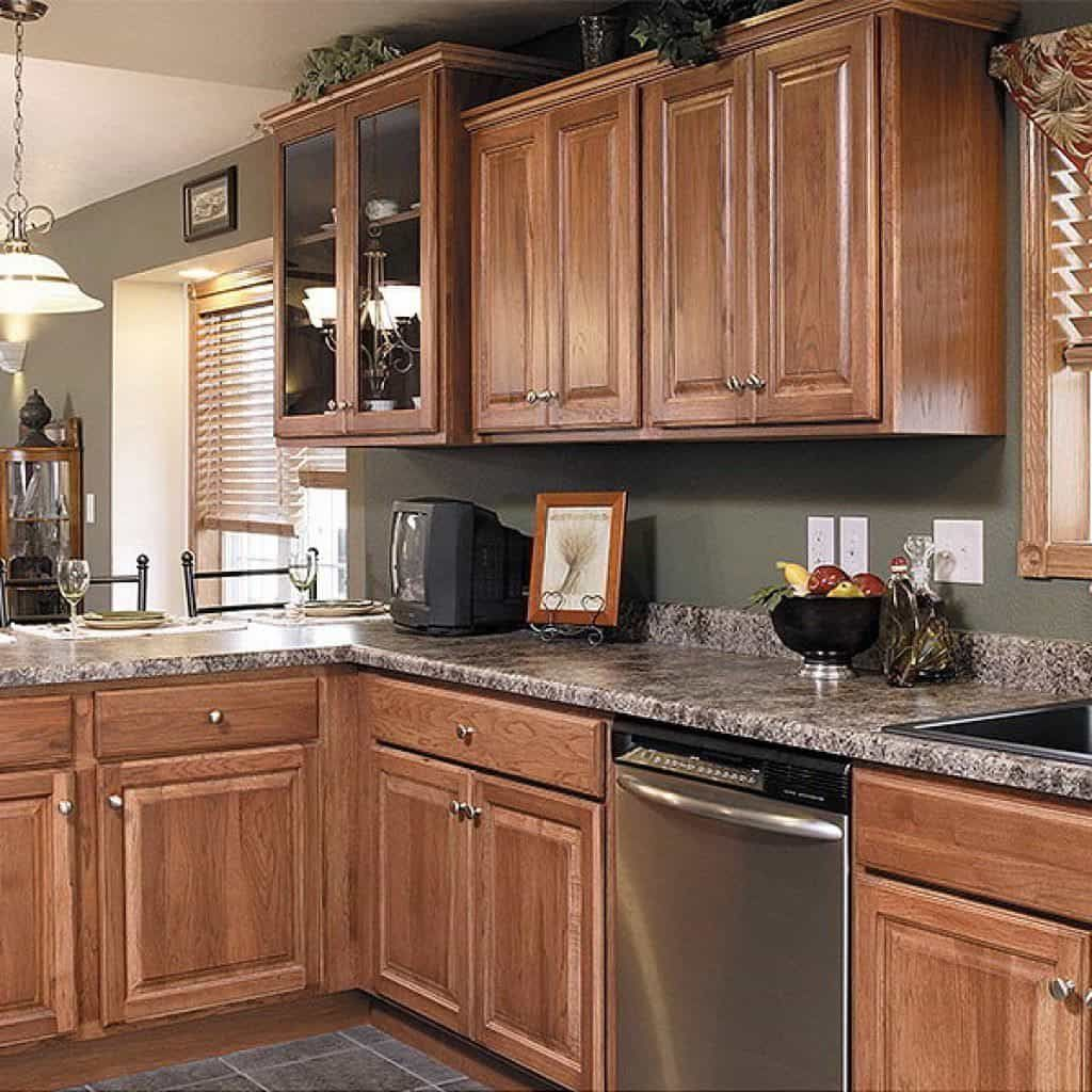 Black Kitchen Cabinets What Color On Wall: A Kitchen With Sturdy Hickory Cabinets In 2019