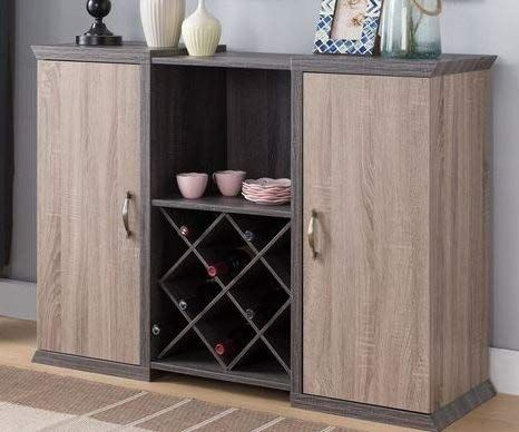 Sideboard Buffet Storage Cabinet Distressed Grey Dark Taupe Wood With Wine Rack Showcase Your