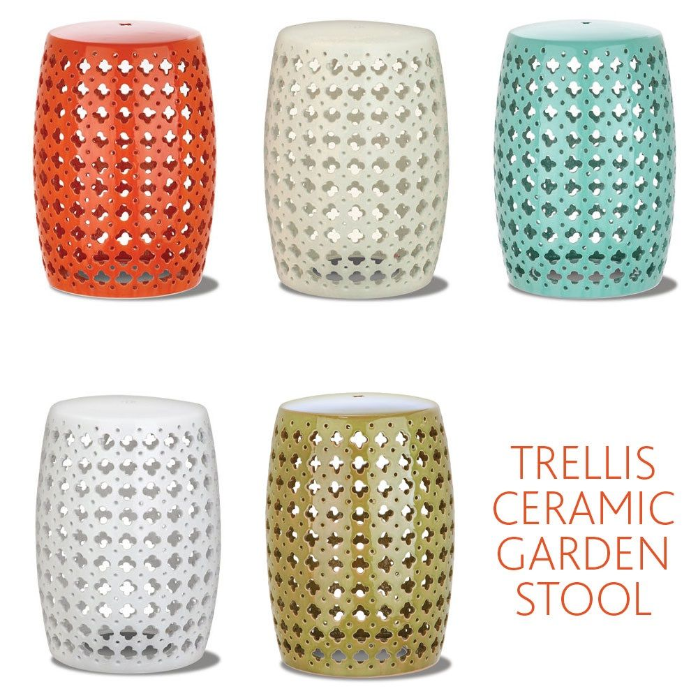 Trellis Ceramic Garden Stool Gardens Ceramics and Outdoor living