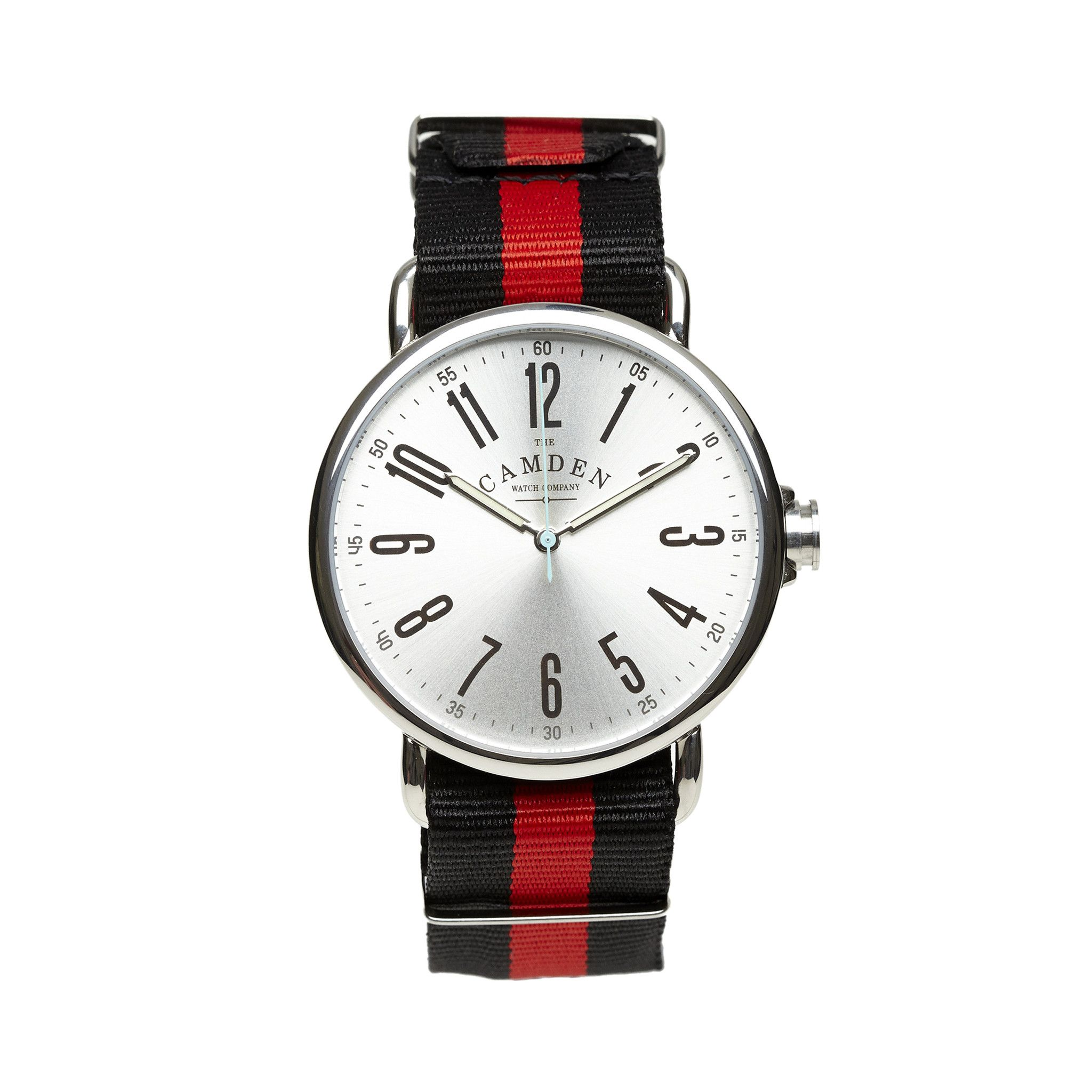 Camden Watch Company Unisex Steel and Red and Black Nato