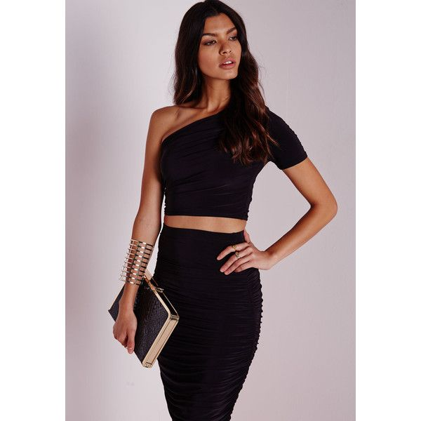 7ffe9f163a0 Missguided Slinky One Shoulder Crop Top ($17) ❤ liked on Polyvore featuring  tops, black, black crop top, one shoulder top, sexy black tops, off one ...