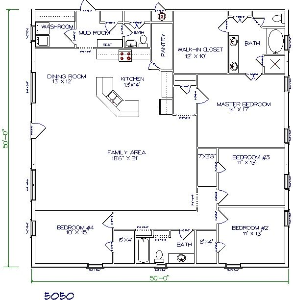 4 Bedroom With Mud Room Layout Texas Barndominiums, Texas Metal Homes,  Texas Steel Homes, Texas Barn Homes, Barndominium Floor Plans