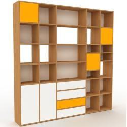Photo of Holzregal Eiche – Modernes Regal aus Holz: Schubladen in Weiß & Türen in Gelb – 231 x 233 x 35 cm, P
