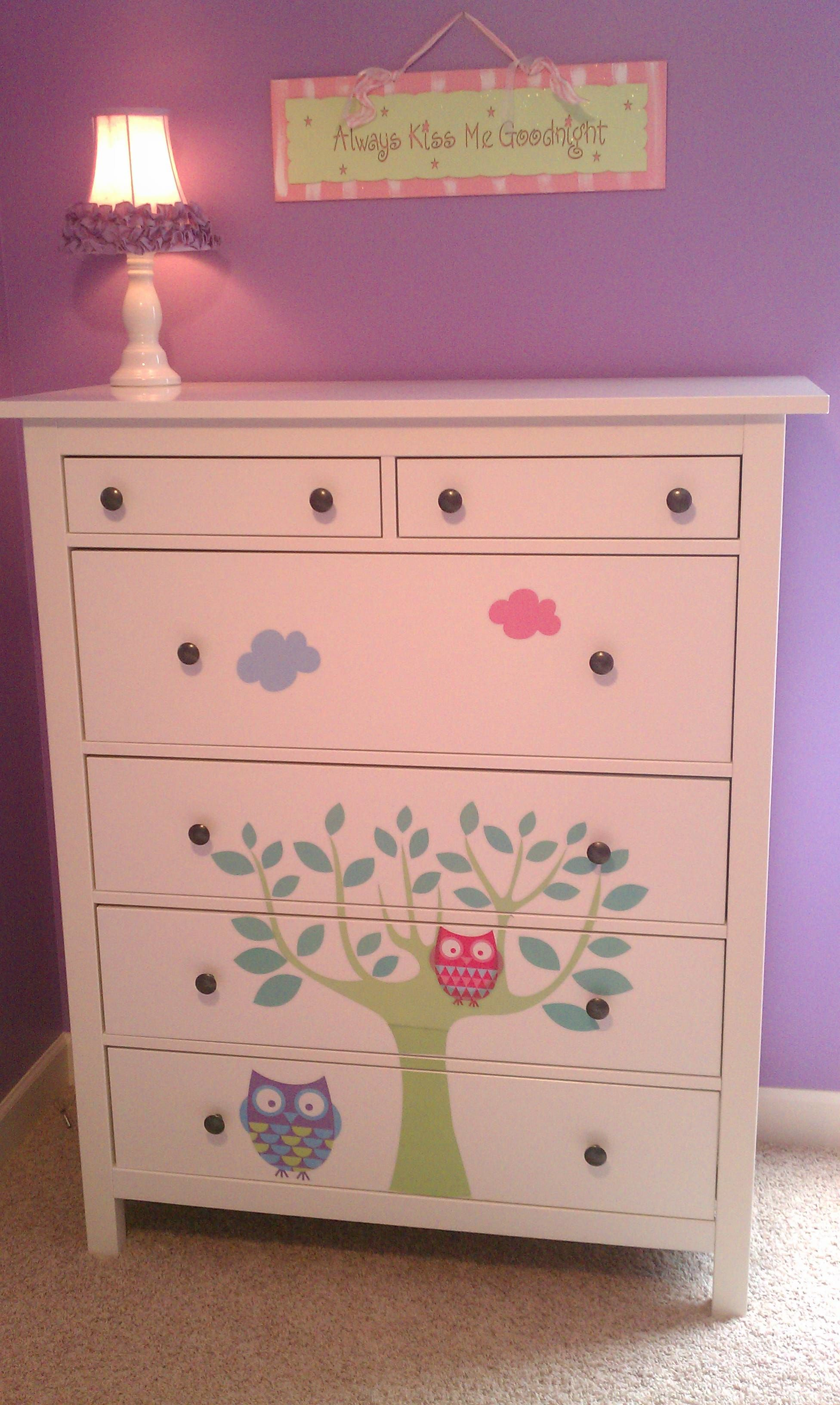Best Customizing A Plain White Ikea Dresser With Wall Decals 400 x 300