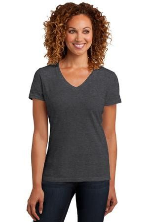 District Made ™ Ladies Perfect Blend V-Neck Tee. DM1190L Heathered Charcoal