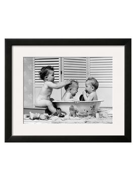 Three Babies in Wash Tub, Bathing by H. Armstrong Roberts (Framed) from Bring on the Bath on Gilt