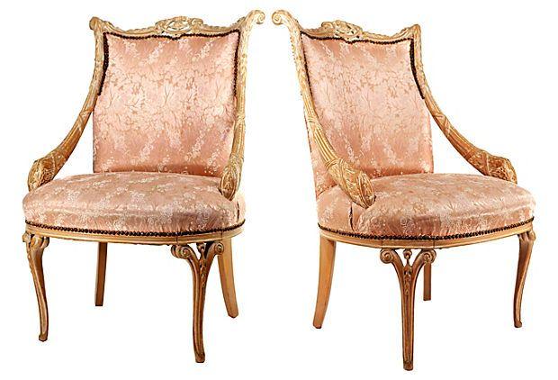 Best Pink Silk Chairs Onekingslane Com Accent Chair Set 400 x 300