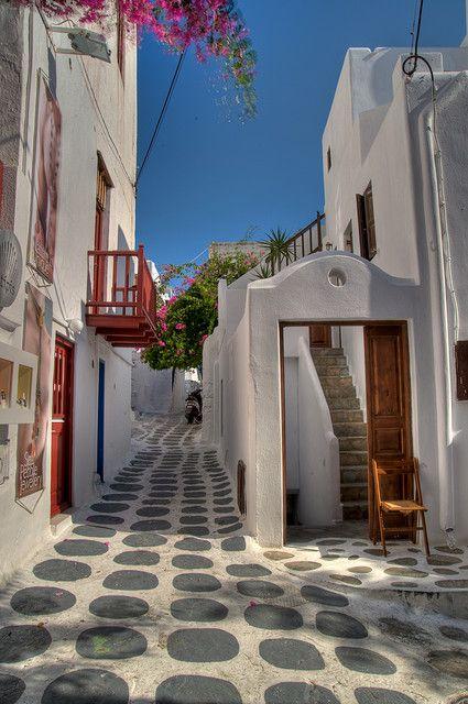 dots on the street, Mykonos, Greece