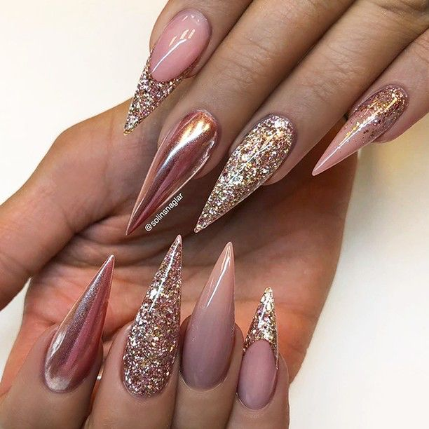 ✨ REPOST - - • - - Nude with Chrome and Glitter on long Stiletto ...