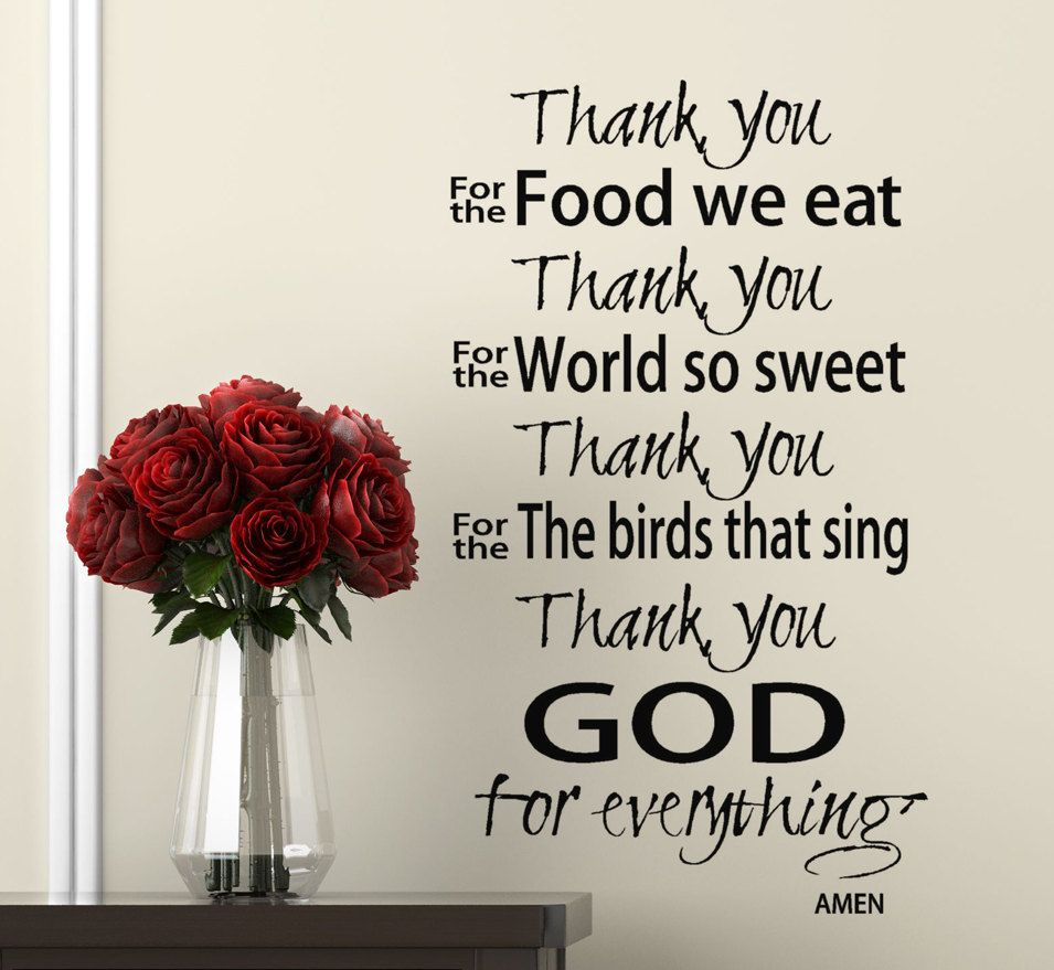 Scripture Wall Decal Thank You God Prayer Wall Words Quote Vinyl