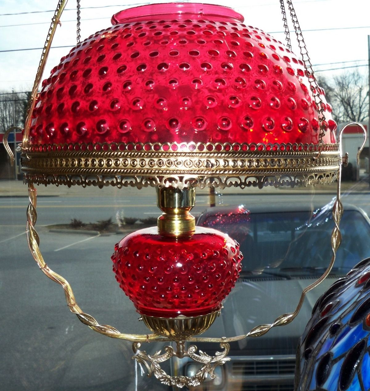 Red Aesthetic Chandelier: Antique Cranberry Hanging Parlor Lamp Circa 1800's