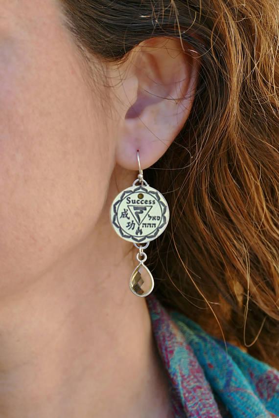 Citrine Gemstone Silver Charm Earrings Spiritual Yoga