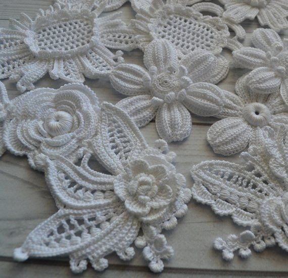 10pz fai da te Set flower applique irlandese pizzo Crochet fiore fiore all'uncinetto irlandese fantasia fiore collana uncinetto irlandese di pizzo Crochet collare #irishcrochetflowers