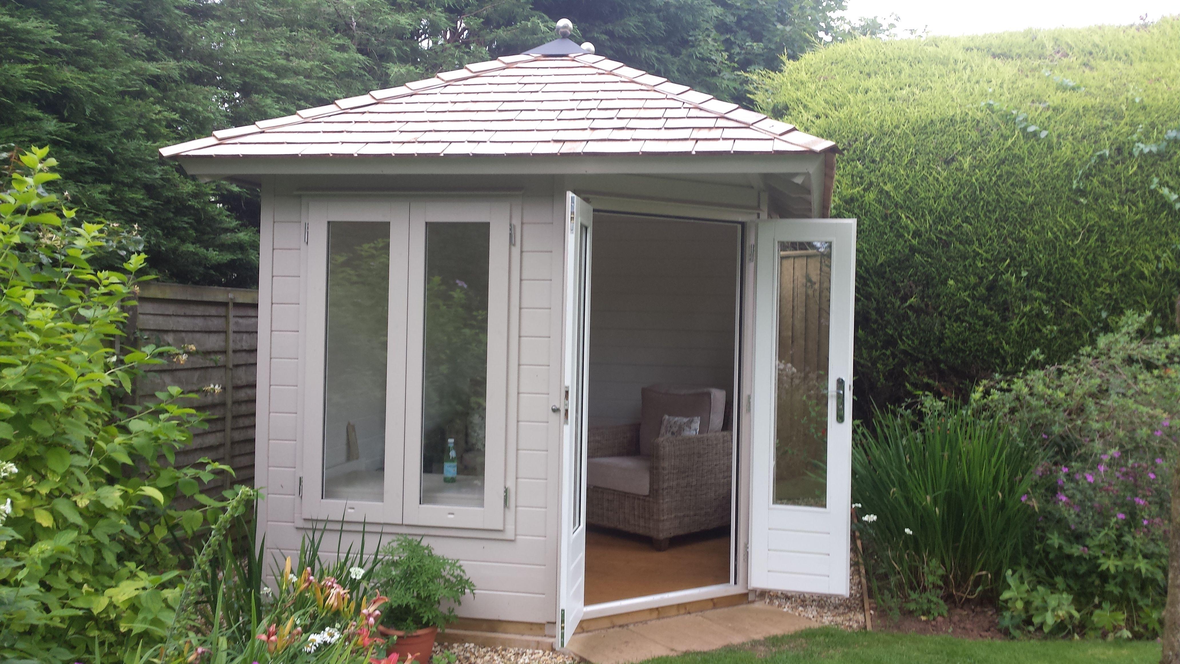 Best Pretty Painted Corner Summerhouse With Cedar Shingle Roof 400 x 300