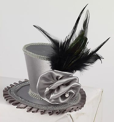 Grey Mini Hat Victorian w/ Rose Peacock Feather Burlesque Costume