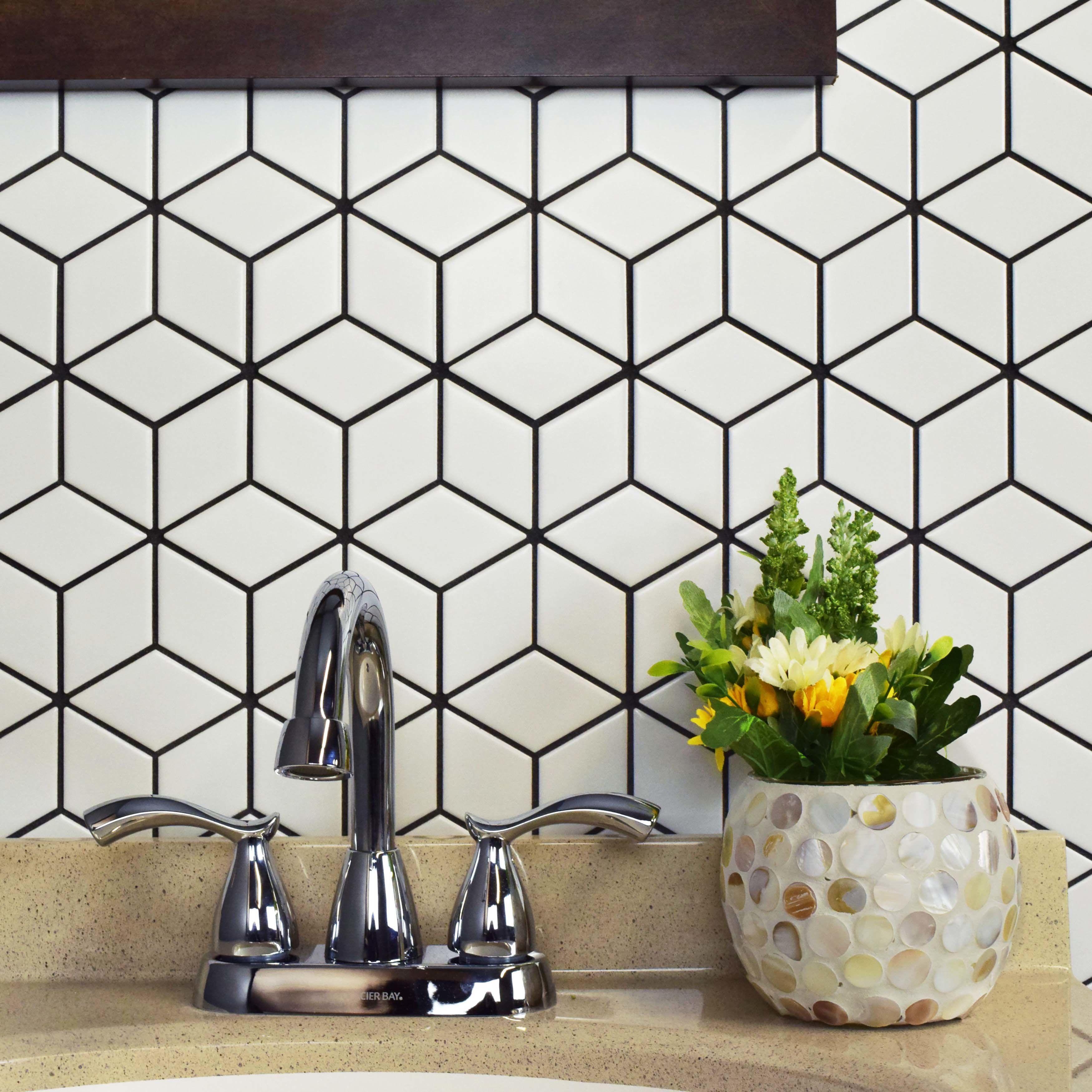 "retro rhombus 2"" x 3"" porcelain mosaic tile  mosaic tiles"