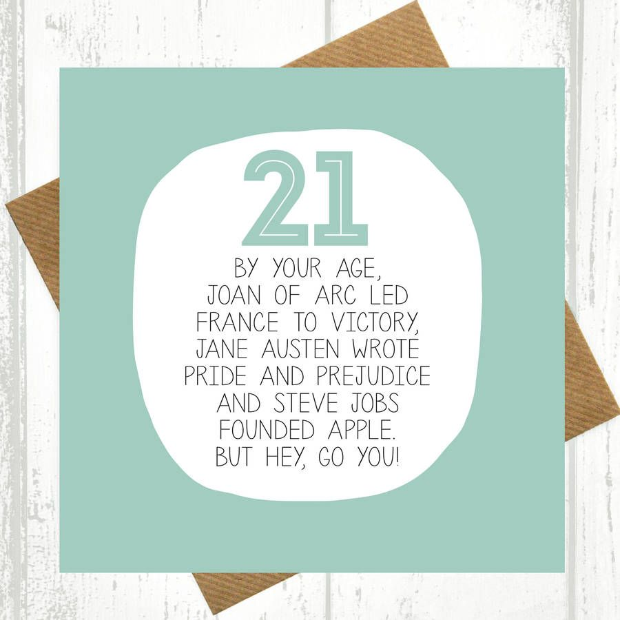 By Your Age Funny 21st Birthday Card