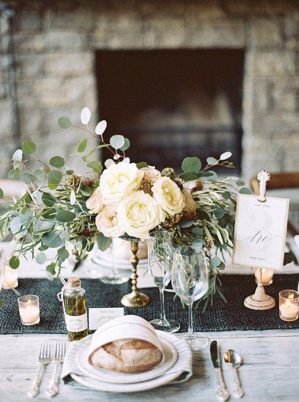 Elegant wedding centerpiece idea - cream + blush florals with - deko für küchenwände