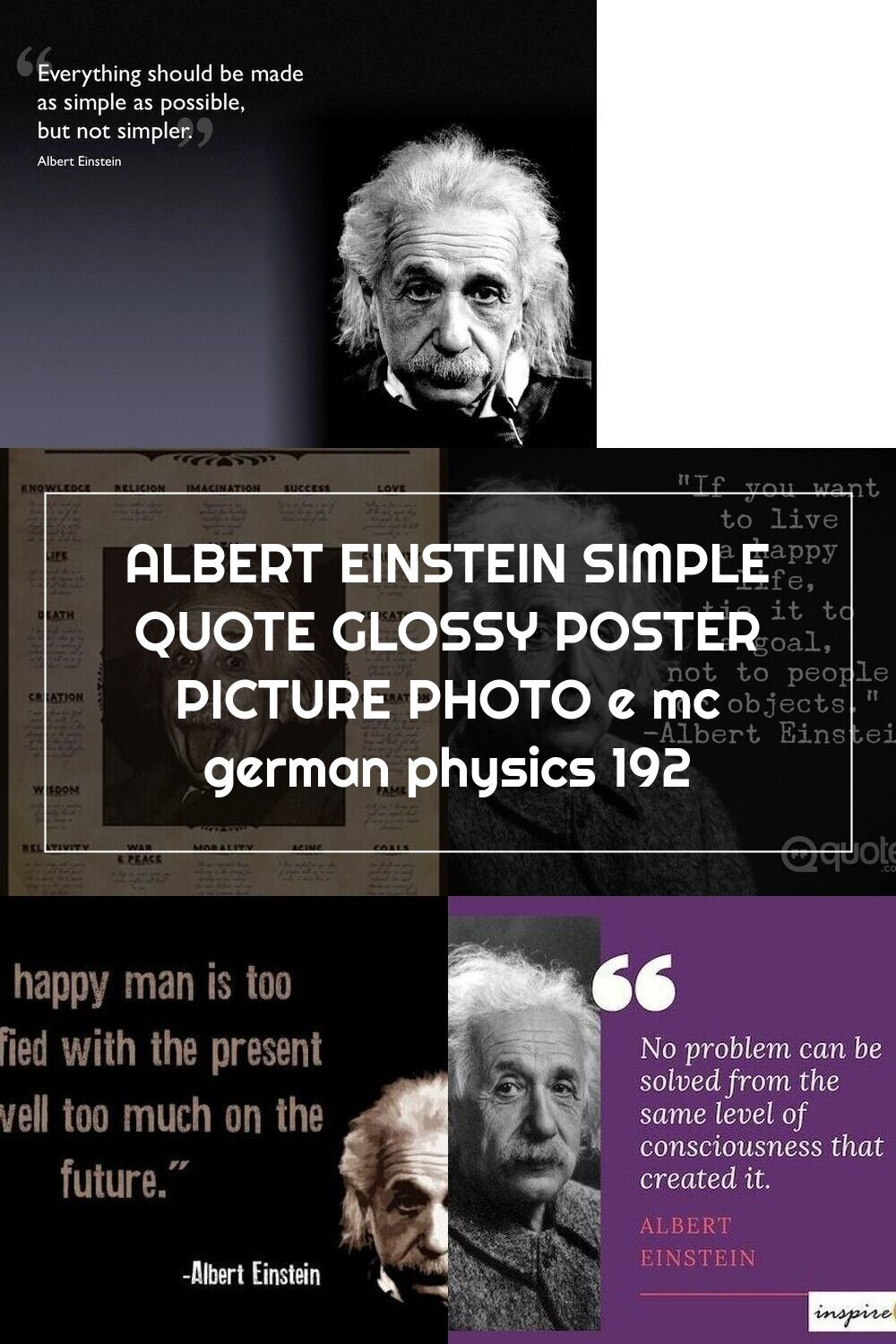 Albert Einstein Simple Quote Glossy Poster Picture Photo E Mc German Physics 192 Poster Pictures Simple Quotes Einstein Quotes