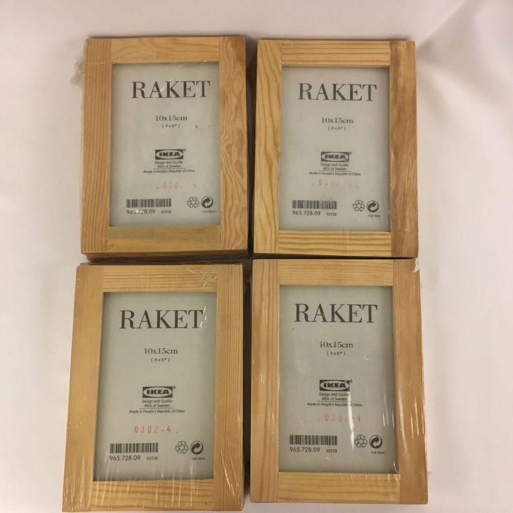 New Sealed Set Of 3 Ikea Raket Natural Wood Picture Frames 4x6 Lot Of 4 Packs Ikea Wood Picture Frames Picture Frames Frame