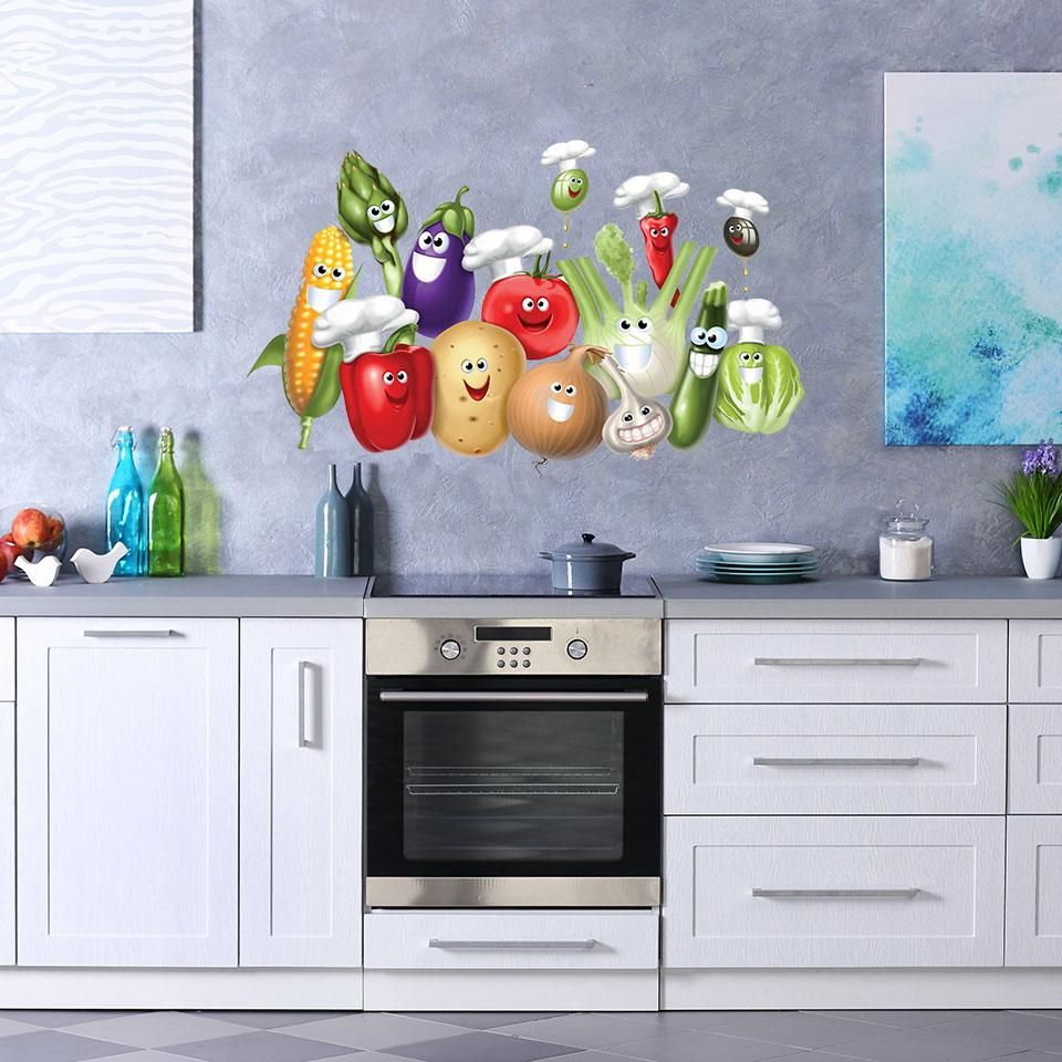Smiling Vegetables Wall Decal Kitchen Wall Colors Living Room Partition Design Kitchen Wall Stickers