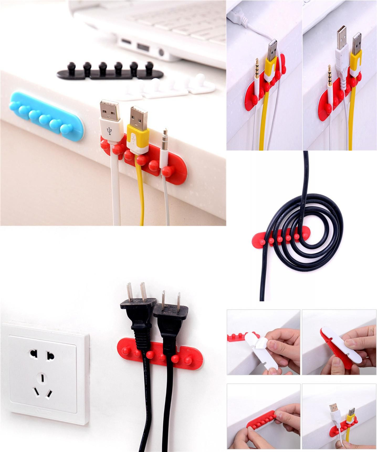 2X Wire Cord Clip Kabel Line Holder Tie Fixer Adhesive Clamp Organizer Drop