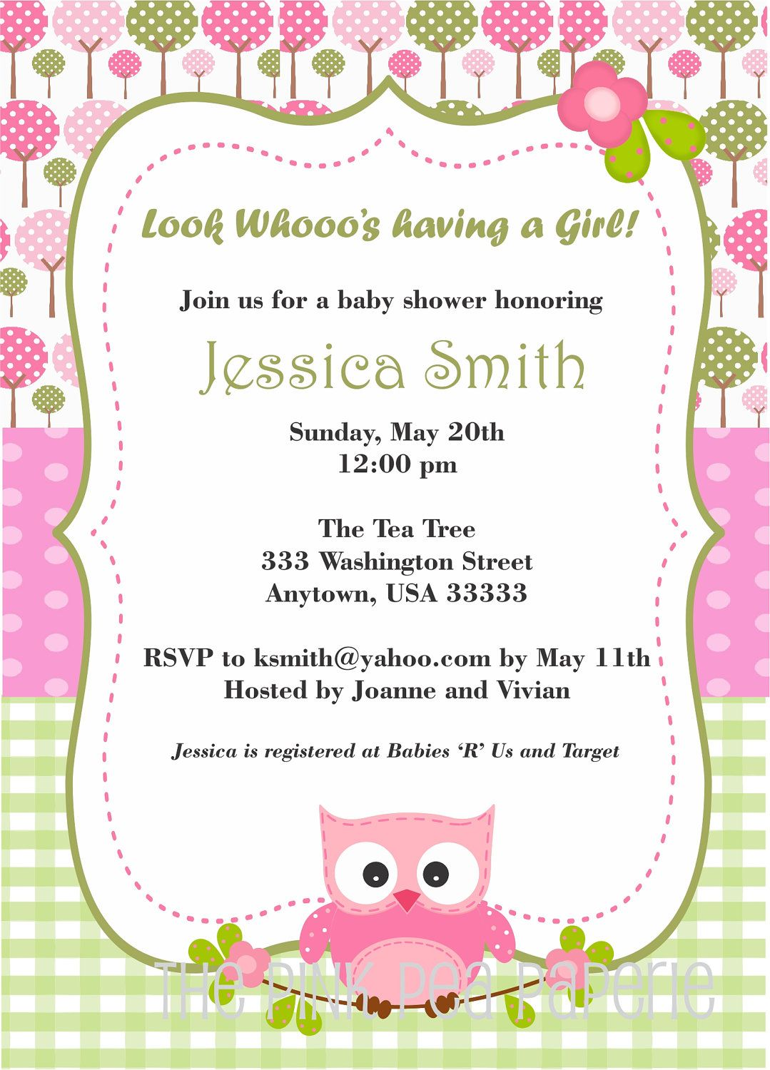 Owl Baby Shower Invitation With Pink And Green Digital Printable 8 00 Via Etsy