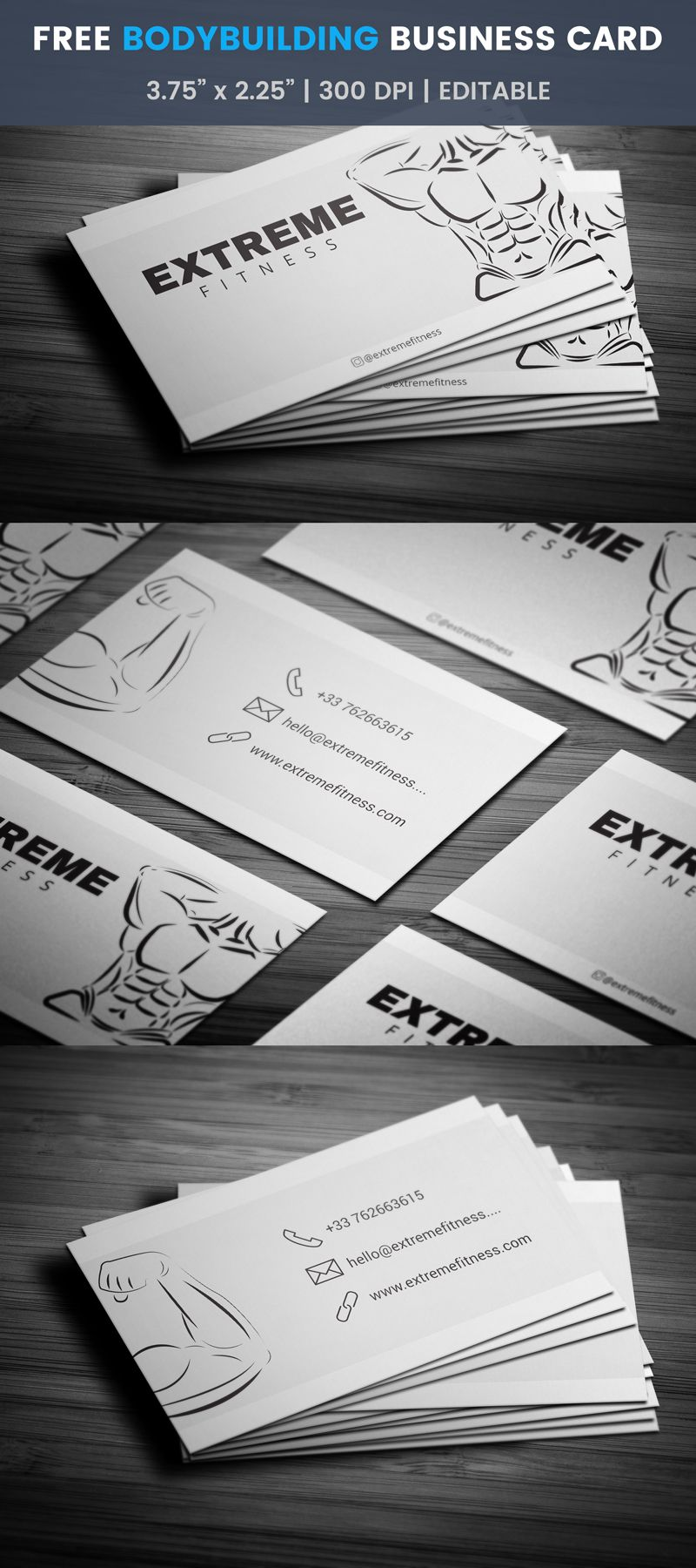 Bodybuilding - Fitness Business Card Template #lift #workout | Free ...