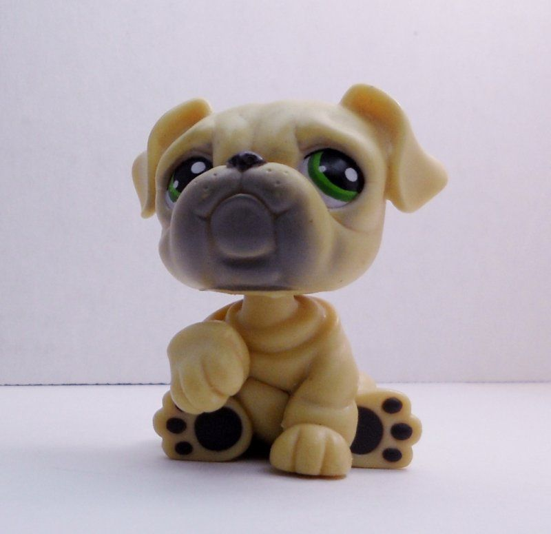 Littlest Pet Shop English Bulldog #107 yellow tan green eyes loose