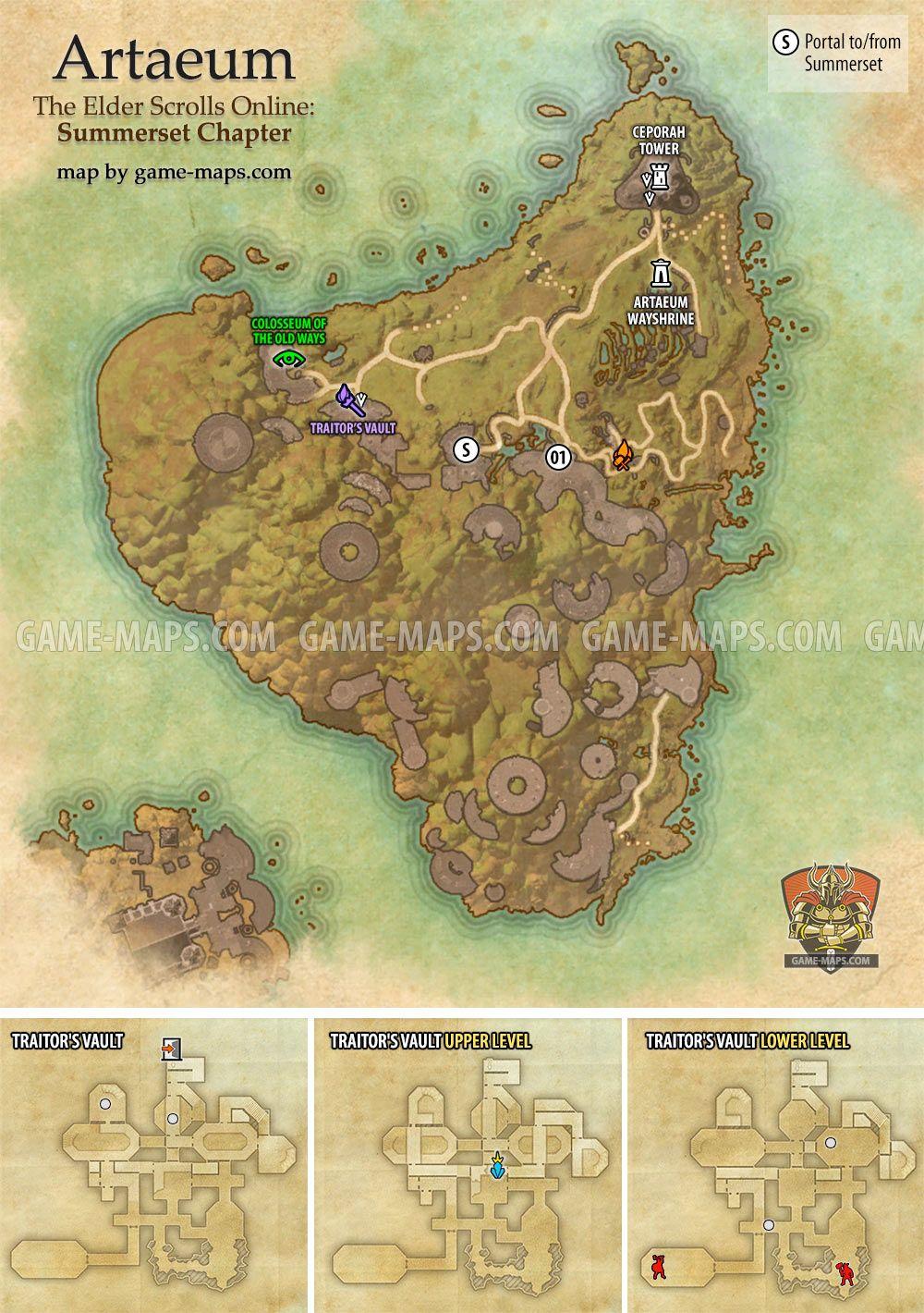Artaeum zone map for The Elder Scrolls Online: Summerset. Delves ...