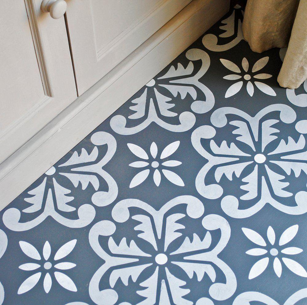 Large Fes Floor Stencil Painted Floorboards