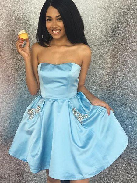 f16b18fee1 Sky Blue Short Homecoming Dress