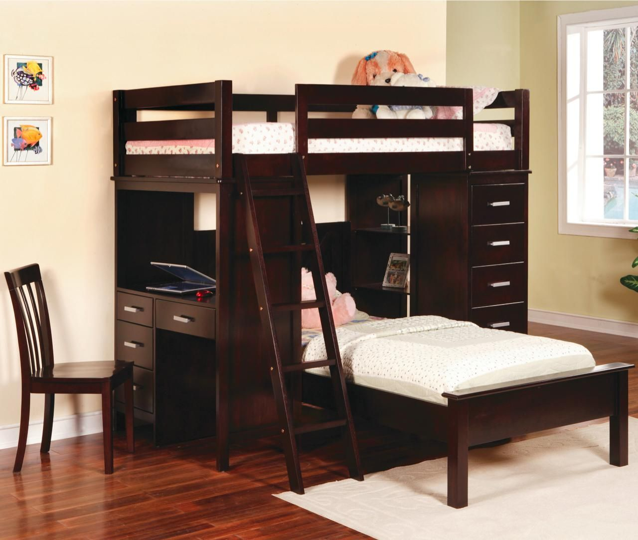 Cool Details About Cappuccino Workstation Complete Bunk Bed Loft Pdpeps Interior Chair Design Pdpepsorg
