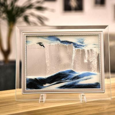 Home decorations glass quicksand creative flow landscape painting