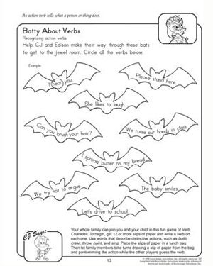 free batty about verbs printable fun english worksheet for 2nd grade work language arts. Black Bedroom Furniture Sets. Home Design Ideas