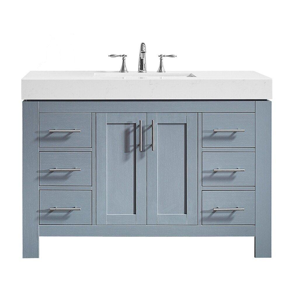 Essex 48 Single Vanity In Elegant Grey With Ascot Quartz Stone