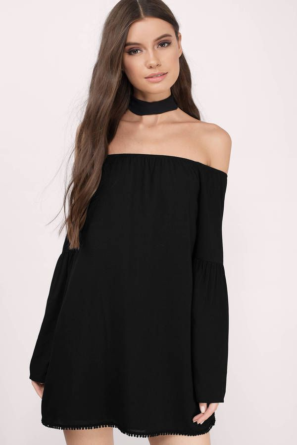 Black long sleeve mini shift dresses