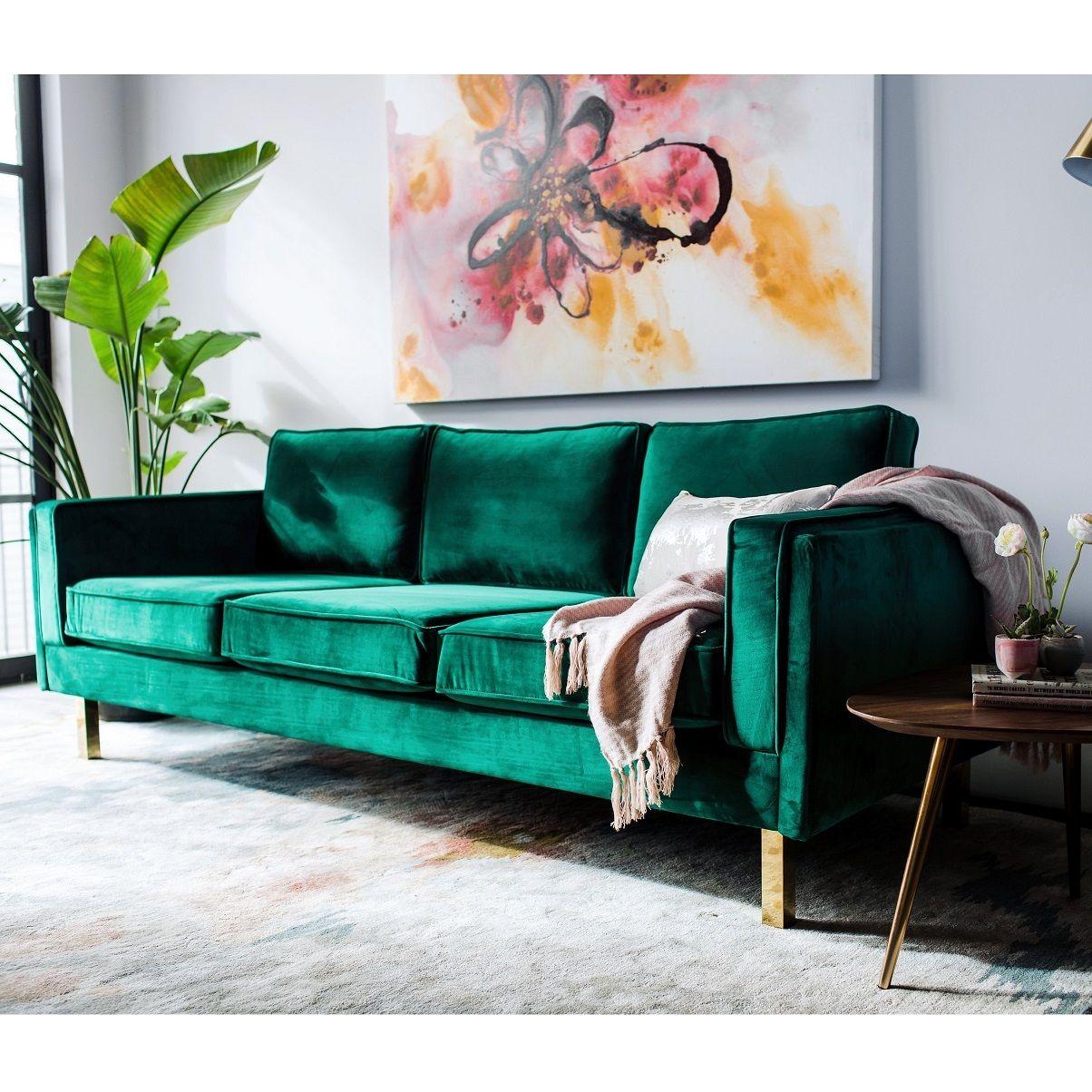 Lexington Mid Century Modern Emerald Green Velvet Sofa Green