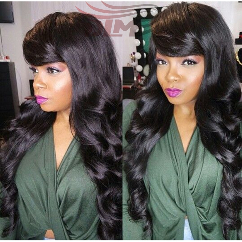 105.00$  Buy now - http://aliwzo.worldwells.pw/go.php?t=32755100486 - DLME Queen Hair Virgin Peruvian Human Hair Customized Side Bangs Glueless Full Lace Hair Wig Peruvian Body Wave Lace Frontal Wig