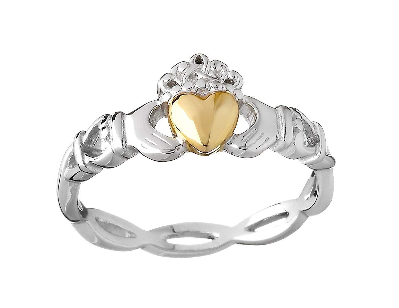 Biddy murphy irish claddagh ring silver weave 10k gold