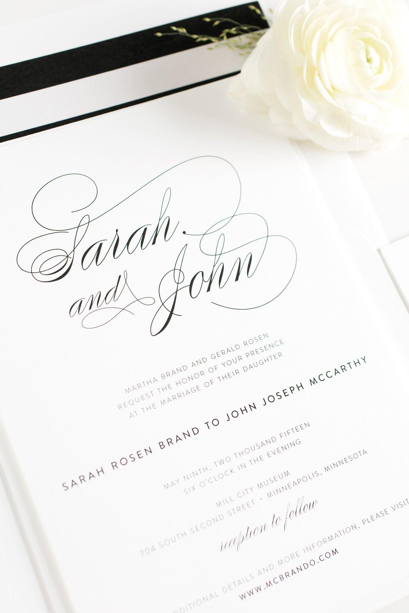 Black and White Calligraphy Wedding Stationery Black